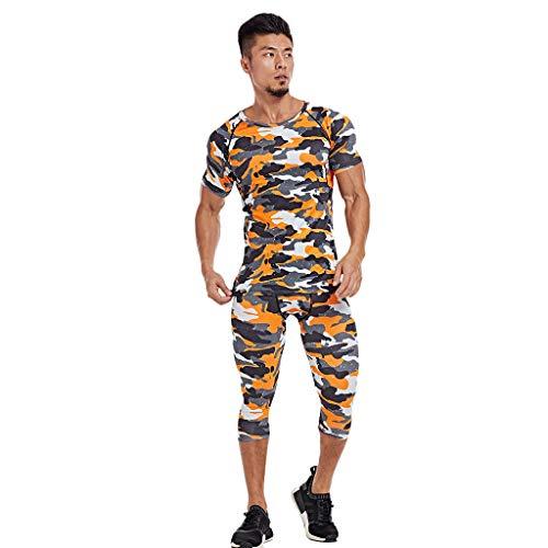 UINGKID Herren Short-Jogginganzug Shortanzug Sportanzug gedruckt elastische Fitness atmungsaktiv schnell trocknend Sport Engen Anzug