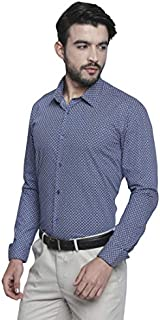 Knighthood by Fbb Moroccan Print Regular Fit Formal Shirt Blue