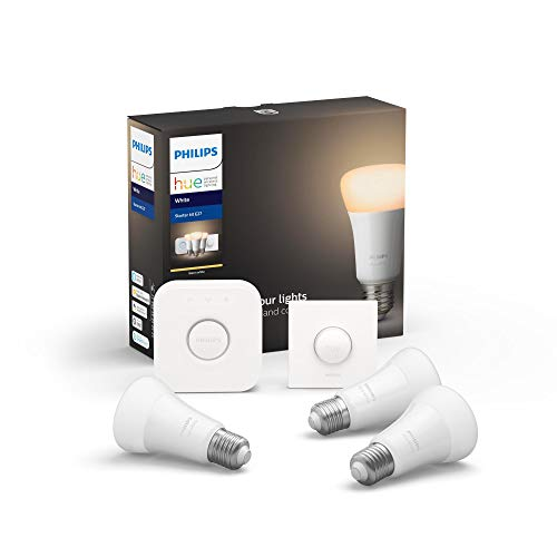 Philips Hue White E27 3-er Starter Set ink. Smart Button, dimmbar, warmweißes Licht, steuerbar via App, kompatibel mit Amazon Alexa (Echo, Echo Dot)