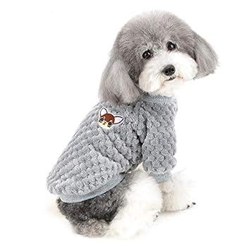 Zunea Pull pour Petit Chien/Chat Polaire Manteaux d'hiver Chaud Pull-Overs Animal de Compagnie Jumper Chiot Veste Chemise Sweat Vetement Chihuahua Yorkshire Gris S