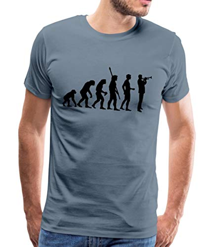 Evolution Trompeter Männer Premium T-Shirt, M, Blaugrau