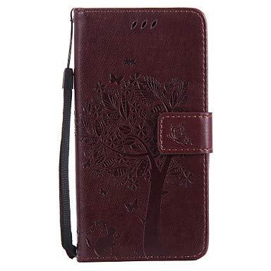 Handy schützen, Für Hüllen Cover Geldbeutel Kreditkartenfächer mit Halterung Flipbare Hülle Geprägt Muster Handyhülle für das ganze Handy Hülle Katze Baum für Samsung