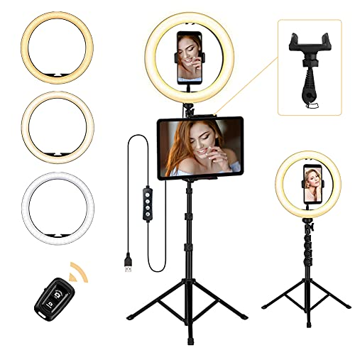 """Ringlicht mit Stativ, Opard LED Ringleuchte mit Stativ und Handyhalterung, 10\""""/25.4cm Selfie Ringlicht mit 3 Lichtmodi & 10 Helligkeitsstufen für Live-Streaming YouTube Tiktok Make-up Vlog"""