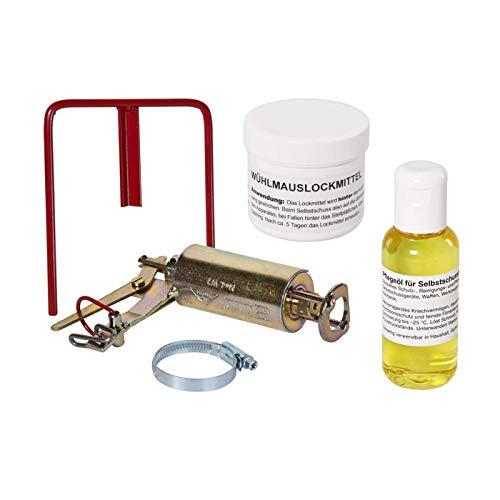 VOSS.farming Set Kieferle Wühlmausschussfalle Selbstschusshalter + Öl und Lockmittel, Schussfalle, Wühlmausfalle, Wühlmausschussgerät, Selbstschussfalle, effektiv, sicher