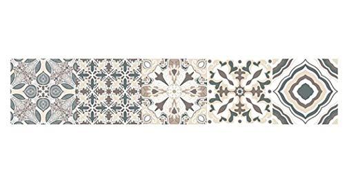 JUSTDOLIFE muurtegelstickers impregneren zelfklevende vintage patroon muur kunststicker Multicolor B