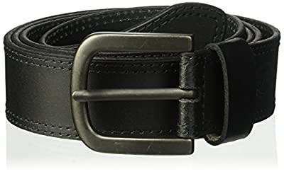Dickies Men's Big and Tall 100% Leather Jeans Belt with Stitch Design and Prong Buckle, black, 54 (Waist: 52)