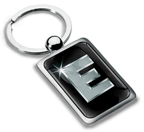 Biomar Labs® Schlüsselanhänger Buchstabe Metall Keyring Buchstaben Initialen Alphabet Autoschlüssel Geschenk Metall-Schlüsselanhänger Schlüsselbund Edelstahl Silber E, KK 83