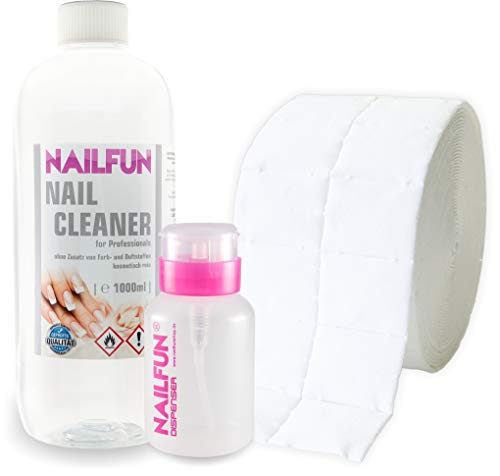Nail Cleaner 1 Liter = 1000ml + 500 Zelletten (1 Rolle) + 1 Pumpflasche / Dispenser 170ml
