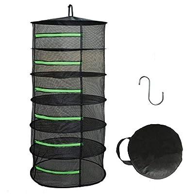 HYDGOOHO Drying Rack Net Dryer 6 Layer 2ft Black W/Green Zippers Hydroponics,Bonus Hook