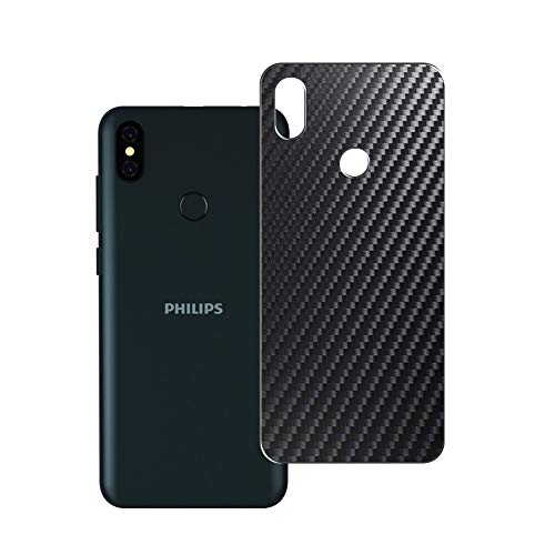 VacFun 2 Piezas Protector de pantalla Posterior, compatible con Philips S397, Película de Trasera de Fibra de carbono negra