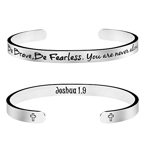 Joycuff Be Strong Be Brave, Be Fearless You are Never Alone Friend Encouragement Gift Christian Bracelet Religious Jewelry