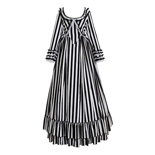 Sleepy Hollow Katrina Van Tassel Costume Dress Black and White Striped Dress XXL