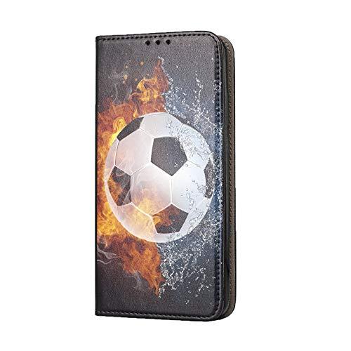 KX-Mobile Hülle für Samsung Galaxy A21S Handyhülle Motiv 1152 Fußball Fussball Weiß Schwarz Orange Premium Smart aus Kunstleder einseitig Bedruckt HandyCover Handyhülle für Samsung Galaxy A21S Hülle