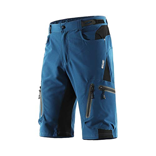 ARSUXEO Men's Cycling Shorts Loose Fit MTB Mountain Shorts Water Resistant Outdoor Sports Bottom 1202 Dark Blue L