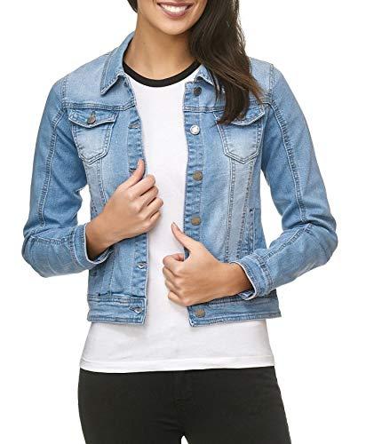 EGOMAXX Damen Jeans Jacke Basic Denim Übergangsjacke Used Kurz D1795, Größen:L, Farben:Himmelblau
