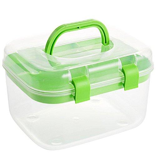 Aufbewahrungsboxen sehr nützlich, Kästchen doppelte Schichten Kunststoff für Kosmetik Nähen-Studie-Bedarf mit Deckel, plastik, grün, 16.5*13*12