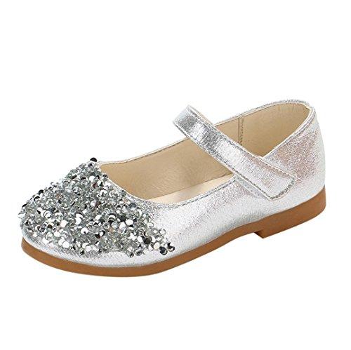 QinMM Kinder Kleinkind Schuhe Infant Baby Mädchen Kristall Leder Einzelne Schuhe Party Prinzessin Schuhe Single Casual Sneaker Silber Gold Rosa 20 EU-29 EU (EU 29 / Chinesisch 30, Silber)