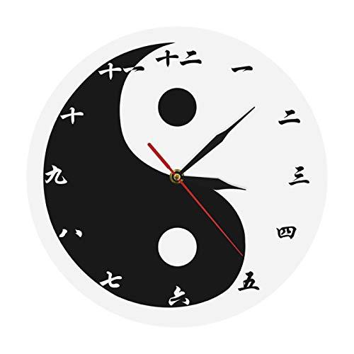 Reloj de Pared Yin Yang Reloj de Pared Moderno con números Chinos Feng Shui Zen Arte de Pared Negro Blanco Taijitu Símbolo de Equilibrio Reloj de Pared Espiritual para el hogar Oficina Escuela