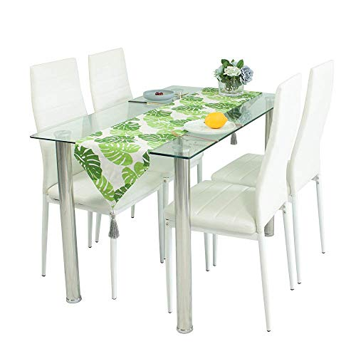 Dining Table and Chairs Set of 4, Glass Kitchen Table and 4 Faux Leather Foam Ribbed High Back Padded Chairs Modern Rectangle Dining Room Furniture (Glass Table+4*White Chairs)