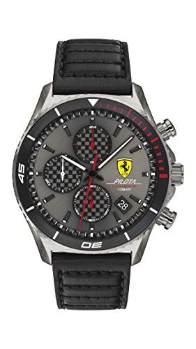 Scuderia Ferrari Reloj Analógico para Hombre de Cuarzo con Correa en Piel de Becerro de Cuero 0830773