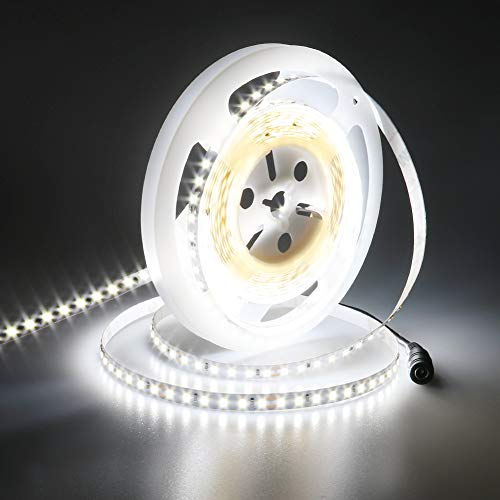 JOYLIT 24V Striscia LED Bianco freddo 6000K 5M 600LEDs SMD2835, UL CE Elencato Super Luminosità 6000LM Flessibile 90W Alta Densità IP20 Non impermeabile Luce Nastro Luminoso