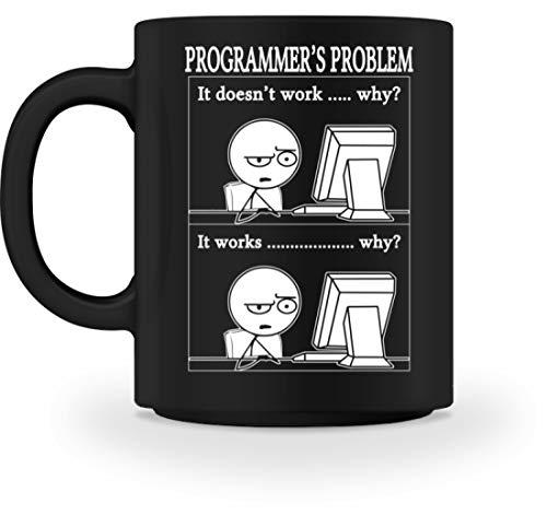 PlimPlom Lustige Programmierer Informatiker Kaffeetasse - Tasse -M-Schwarz