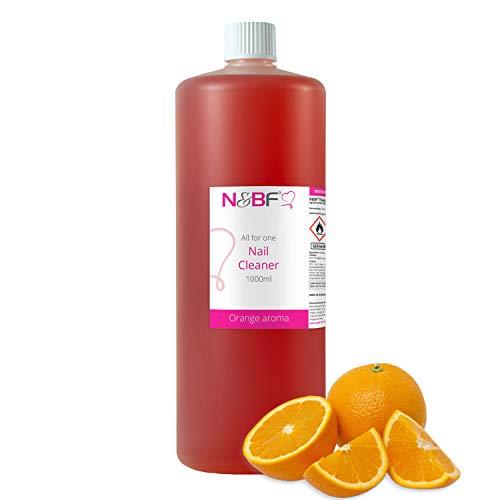 N&BF All for one - Nagel Cleaner mit Duft 1000ml = 1 Liter – für Gelnägel – Nagelreiniger – Nail-Cleaner – 70% Ethanol-Alkohol kosmetisch rein in Studioqualität zum Entfetten und Reinigen (Orange)