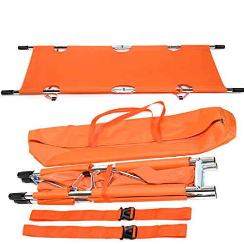 Folding Stretcher Made from Top Grade Aluminum Alloy Gurney Stretcher with Heavy Duty Handles Medical Stretcher with Rubber Feet Portable Stretcher for Patient Transport (Orange)