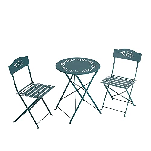 OC Orange-Casual 3 Piece Patio Set, Outdoor Bistro Set Folding, Garden Table Porch Chairs, Lawn Chairs for Adults with Decorative Design-Olive Green