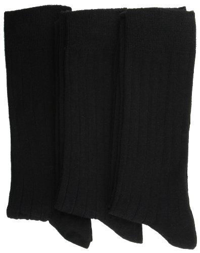 RJM 3Paar Baumwolle Mix Gerippter Anzug Socken UK Größe 7–11EU Größe 41–46, Schwarz