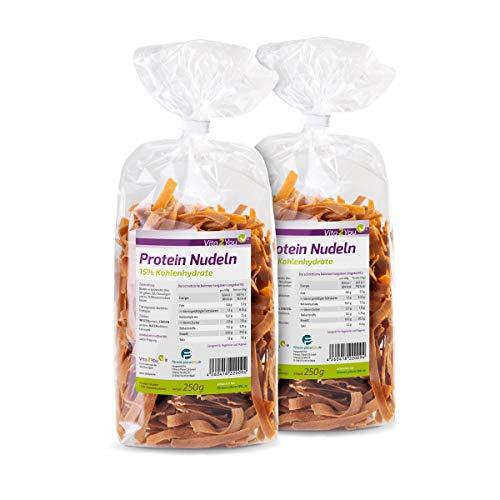 Protein Nudeln - Neue Rezeptur - 61% Eiweiss - Nur 15% Kohlenhydrate - Eiweiß Pasta - Premium Qualität (2 x 250g)