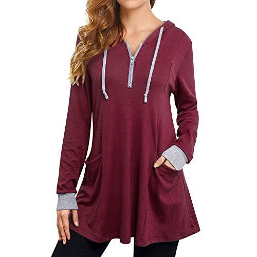 MRULIC Damen Kurzarm T-Shirt Rundhals Ausschnitt Lose Hemd Pullover Sweatshirt Oberteil Tops (EU-42/CN-XL, Kaffeebraun)