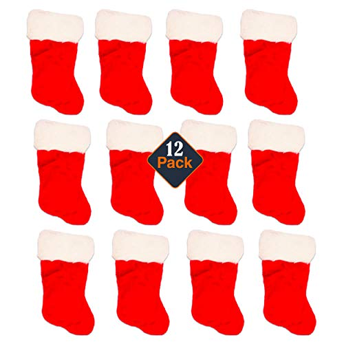 Mini Christmas Stockings for Crafts Set -- Pack of 12 Small Christmas Stockings for Crafting, Christmas Ornaments, Gift Card Holders, Dolls, Pets, and More (Plush, 4x7 Inches)