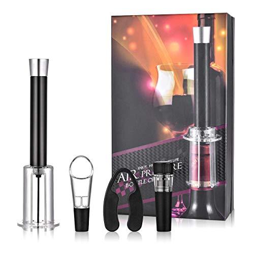 Set Abridor de Vino de Aire Comprimido Abridor de Botellas de Vino Removedor Corcho Bomba Aire Accesorios Paquete con Cortacápsulas Limpiador de Aireador de Vino Tapón de Vacío para Vino Set de Regalo