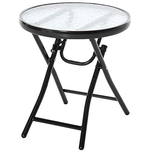 Outsunny Gartentisch Beistelltisch Bistrotisch mit Glasplatte rund klappbar Metall Ø45 schwarz