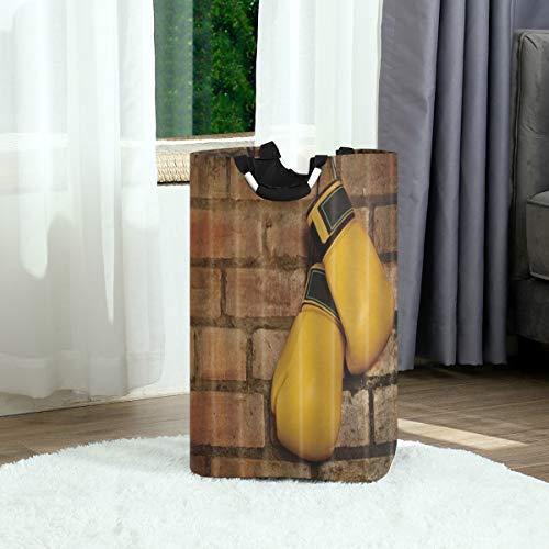 ZOANEN Wäschesack,Sportliche Boxhandschuhe,die an der Backsteinmauer hängen,Großer faltbarer Wäschekorb,zusammenklappbarer Wäschekorb,zusammenklappbarer Waschvorratsbehälter