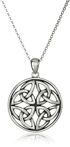 Sterling Silver Celtic Triquetra Trinity Knot Medallion Pendant Necklace, 18'