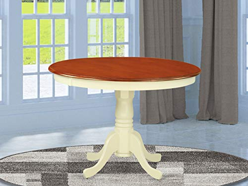 East West Furniture HLT-BMK-TP Hartland Wood Dining Table-Cherry Table Top Surface and Buttermilk Finish legs Hardwood Frame Pedestal Dining Table