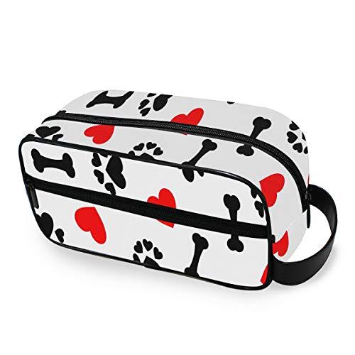 Animal Dog Paw Print Bones Corazón Rojo Artículos de tocador de tamaño...