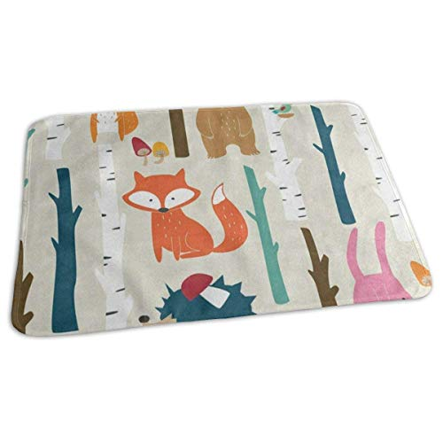 Voxpkrs Changing Pad Vintage Forest Fox Squirrel Hedgehog Rabbit Baby Diaper Urine Pad Mat Stylish Toddler Children Sheet Sheet for Any Places for Home Travel Bed Play Stroller Crib Car