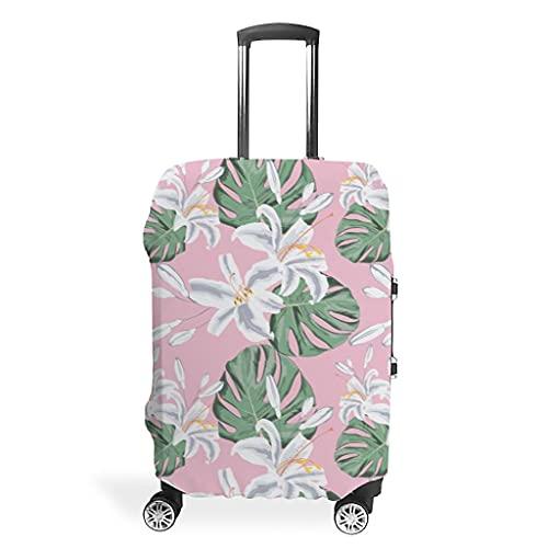 Monstera - Funda protectora para maleta, diseño de planta tropical, color rosa