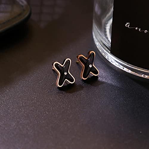 CXWK Pendientes Sencillos de Esmalte X con Letras para Mujer, Acero Inoxidable, Marca de Lujo, Pendientes Cruzados, joyería