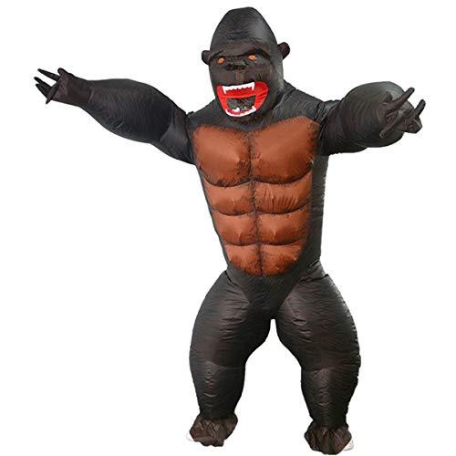 LYHLYH Gorila inflable, disfraz de mueca de dibujos animados, disfraces de Navidad, disfraz inflable del mundo jursico, divertido regalo de fiesta de cumpleaos para nios y adultos, L