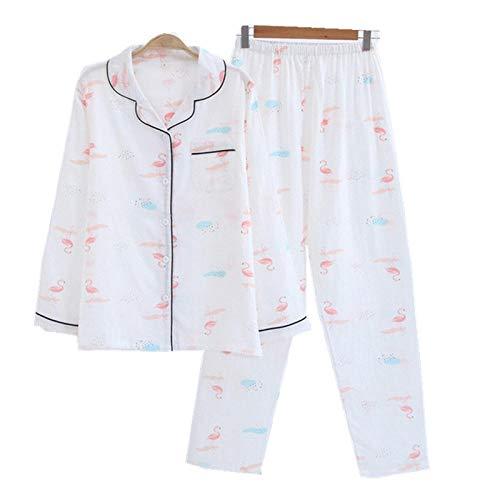 Sexy flamencos Blancos 100% Conjuntos de Pijama de algodón Mujeres Primavera Manga Larga algodón Acogedor Pijama Simple Mujer Pijamas de Mujer-Flamingo_XL