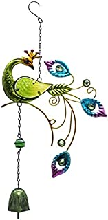 FX Peacock Design Wind Chimes Hanging Bells Garden Yard Home Wall Window Balcony Decor Hanging Pendant Outdoor Ornament (S...