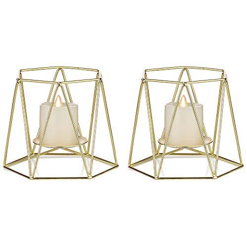 Nuptio 2 Stücke Golden Metall Stumpen Kerzenhalter, Geometrische Elegante Teelichthalter, Mittelstücke für Hochzeiten, Heim Kaffeetischen Dekor, Zeremonie und Jubiläum, Kerzenhalter Weihnachten Deko