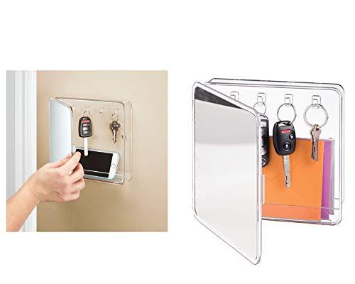 InterDesign Linus Schlüsselkasten, Wandbox aus Kunststoff und Glas zur Schlüsselaufbewahrung mit Spiegel, durchsichtig