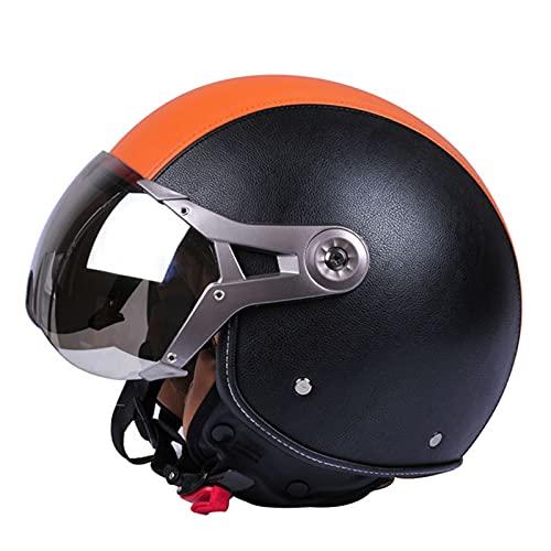 DDZY Casco Jet Casco de Motocicleta Casco de Scooter ciclomotor Casco de ciclomotor Machete Retro Vespa Retro piloto Motorista ECE 22.05 Visera Solar,Naranja,XL
