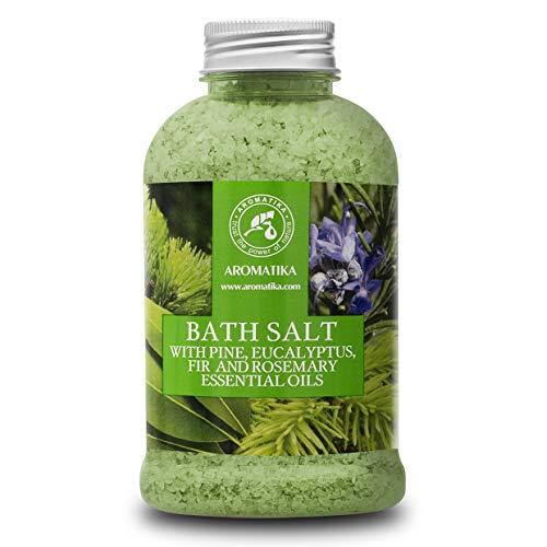 Badesalz 600 g mit Kiefer - Eukalyptus - Tanne & Rosmarin Ätherische Öle - Meersalzbad - Körperpflege - Guter Schlaf - Schönheit - Baden - Wellness - Entspannung - Aromatherapie - SPA