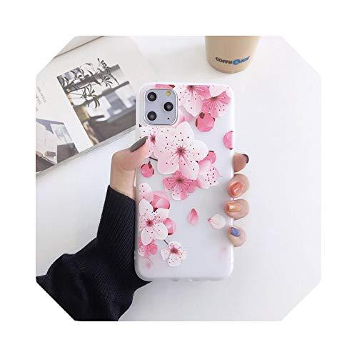 3D Blume Embossed Matte Clear Soft Silikon TPU Phone Case for iPhone 5 SE 6 6S 7 8 Plus 11 12 Mini Pro X XS XR Max Back Cover C-for iPhone 12 Pro Max